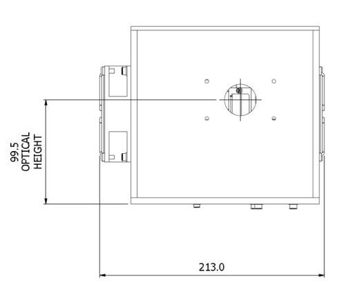 ILD-D2-QH deuterium-halogen lamp housing top dimensions
