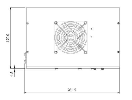 ILD-D2-QH deuterium-halogen lamp housing side dimensions