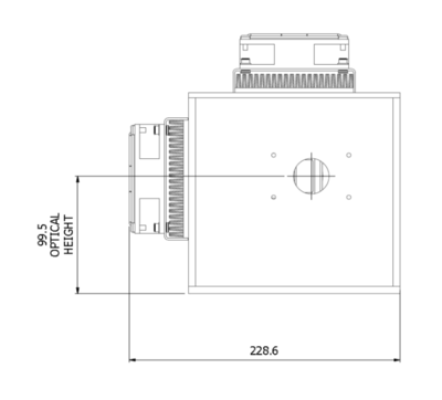 ILD-QH-IR Halogen-SiN lamp housing front dimensions