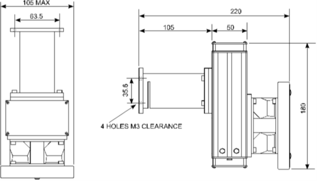 IL1 Quartz Halogen lamp housing front and side dimensions